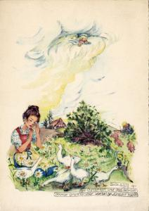 Girl crying in field of daises, Geese, Angel on cloud watching, 20-30s