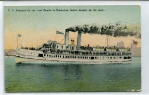 Steamer Kennedy Seattle Bremerton Washington 1910c postcard