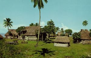 fiji islands, Native Village Thatched Houses (1960s) Stinsons 1025