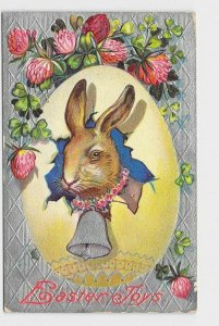 ANTIQUE POSTCARD EASTER BUNNY RABBIT EGG BELL RED CLOVER EASTER JOYS EMBOSSED