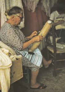 Golzitan Lace Maker Bobbin Craft Malta Maltese Postcard
