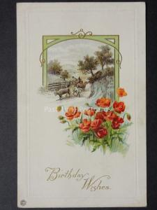 Poppies Postcard: Birthday Wishes c1919 by Stecher Lith Co - N.Y.