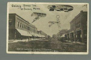 Le Sueur MINNESOTA RPPC 1910 MAIN STREET Add ON AIRSHIP Planes nr Henderson