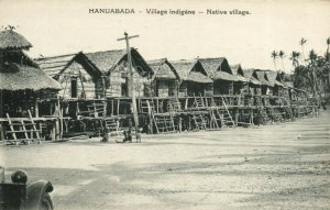 PC CPA PAPUA NEW GUINEA, HANUABADA, NATIVE VILLAGE, Vintage Postcard (b19796)