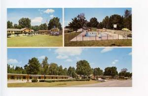 Manistiquer MI Blue Spruce Motel on US 2 Lake Michigan Pool Postcard