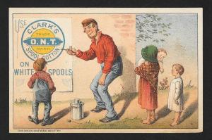 VICTORIAN TRADE CARD Clark's ONT Thread Old Man Billboard