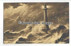 tq0609 - Devon - Artist Impression / Eddystone Lighthouse in a Storm - Postcard