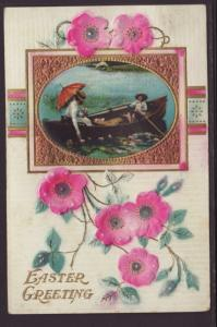 Easter Greetings,Flowers,Rowboat Postcard