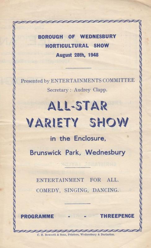 Wednesbury West Midlands 1948 Horticultural Show Small Variety Theatre Programme