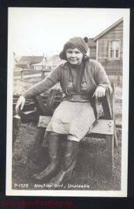 RPPC UNALASKA DUTCH HARBOR ALASKA ALEUTIAN GIRL VINTAGE REAL PHOTO POSTCARD