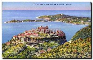 Old Postcard Eze View Taking the Grande Corniche