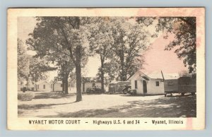 Wyanet Motor Court, Classic Campers Car, Cottages, Linen Illinois 1954 Postcard