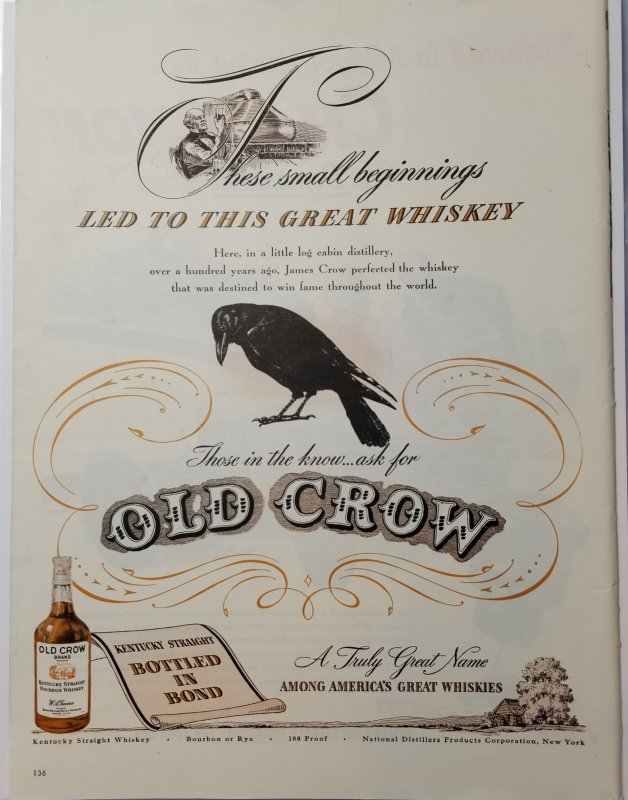 1946 Old Crow Whiskey Print Ad LIFE Magazine Single Page Color  EXL10034