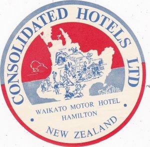 New Zealand Hamilton Waikato Motor Inn Vintage Luggage Label sk3771