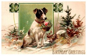 Dog , With Flowers , 4 leaf Clover, Birthday Greetings