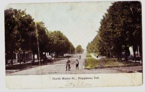 1909 NAPPANEE Indiana Ind Postcard NORTH MAINE ST Boys BICYCLE