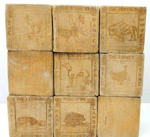 Antique Vtg Wood Blocks Carved Buffalo, Horse, Turkey, Porcupine, Kangaroo, Dog