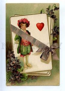 233511 VIOLETS Elf VALENTINE Gift Vintage EMBOSSED postcard
