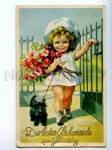 206763 Little Girl White Dress SCOTTISH TERRIER Vintage PC