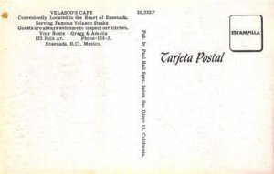 VELASCO'S CAFE Ensenada, BC, Mexico Restaurant Interior c1950s Vintage Postcard