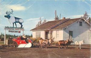 Redmond OR Santa Claus Ranch, Santa, Reindeer, Sleigh Vintage Chrome Postcard