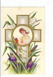 Big Cross With A Little Girl InThe Middle Reading A Book, Christ Is Risen, Ea...