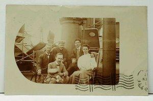 RPPC Victorians on Ship New York 1907 Hoboken NJ to Charlotte NC Postcard F11