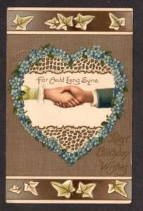Birthday Postcard Auld Lang Syne Heart Shanking Hands