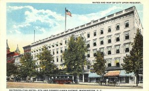 Washington DC 6th. And Pennsylvania Ave. Metropolitan Hotel Postcard