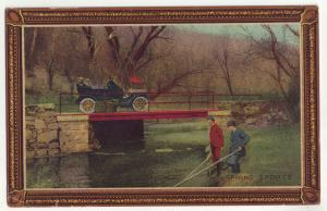 P823 old boarder card spring sports, fishing with old car passing over bridge