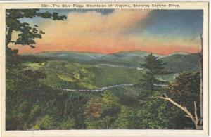 The Blue Ridge Mountains of Virginia, Showing Skyline Drive, unused Postcard