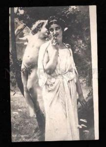 022656 CUPID & Charming Lady. Sign. Vintage PC
