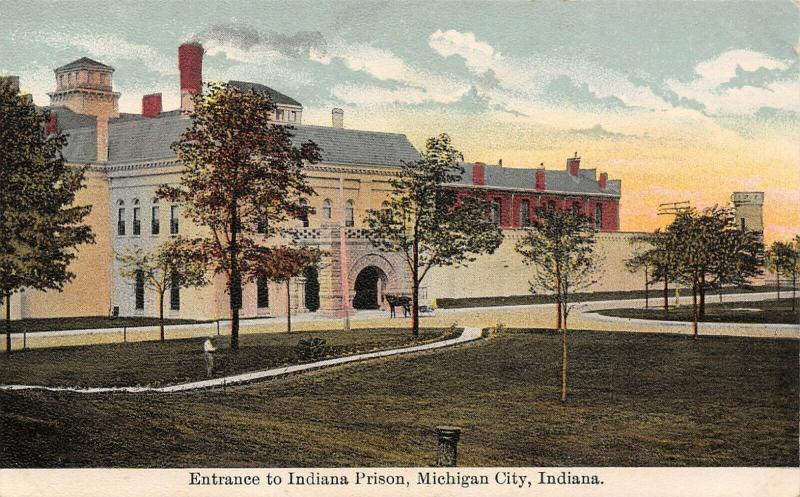 Michigan City Indiana~Entrance to State Prison~Horse Wagon~Gardener~1907 PC
