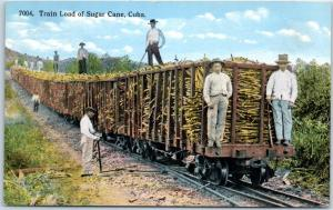 Vintage Cuba Farming Postcard Train Load of Sugar Cane Field Scene c1910s