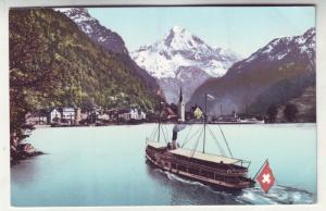P210 JL old postcard Fluelen und der Bristenstock boat swiss