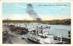 Cincinnati Ohio~Public Landing along OH River~Ships~Steamer Telegraph~1920s Pc