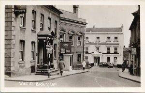 West Street Buckingham Buckinghamshire White Hart Hotel RPPC Postcard G69