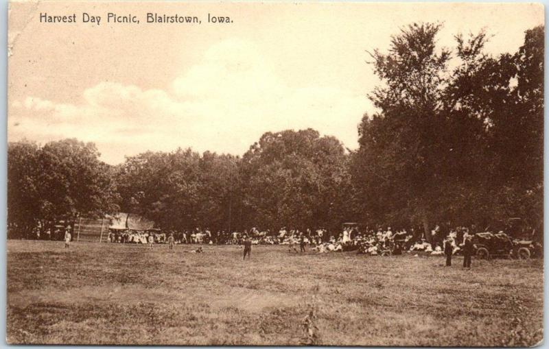 Blairstown, Iowa Postcard Harvest Day Picnic Park Scene Rotograph 1912 Cancel
