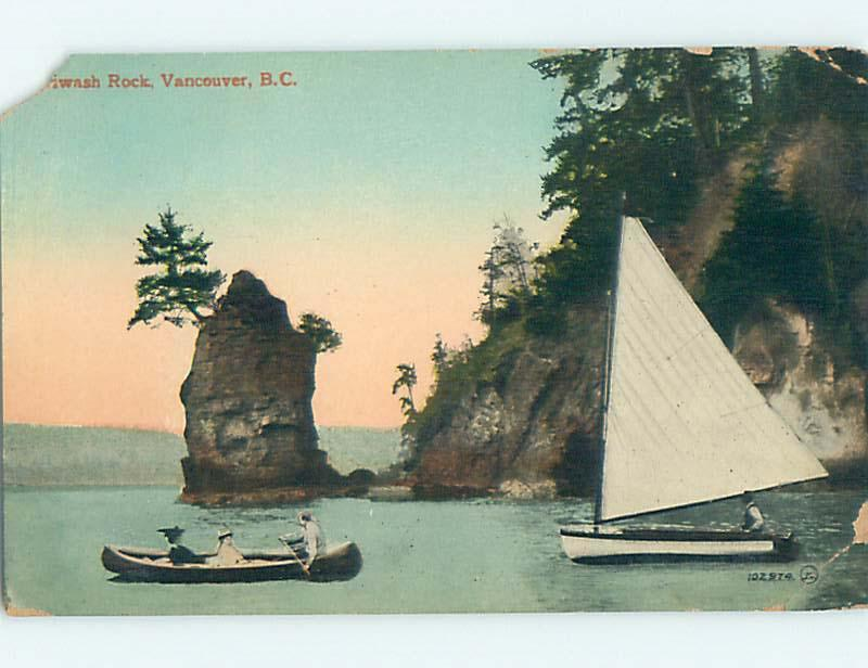 Divided-Back SAIL BOAT & CANOE & ROCKS Vancouver BC o0876