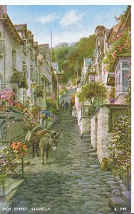 Devon Postcard - High Street - Clovelly - Showing Donkey      A4593