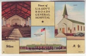 P544 JLs 1930-45 linen us govt rhoads general hospital, chapel utica new york
