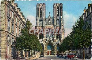 Modern Postcard Reims Cathedral of Reims and John Rockefeller Street