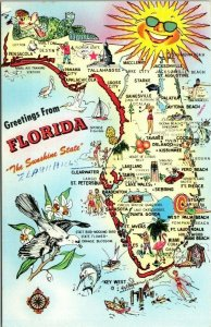 Postcard Greetings From Florida Sunshine State 1960s Unposted Chrome 1631