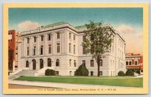 Winston-Salem North Carolina~Forsyth County Courthouse~Kress Store~1940s Linen