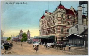 DURBAN, South Africa Postcard Railway Station Street Scene Hand-Colored c1910s
