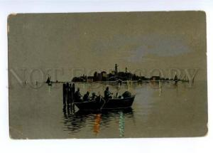 3149011 Art Nouveau SILHOUETTE in Boat SMOKING vintage PC