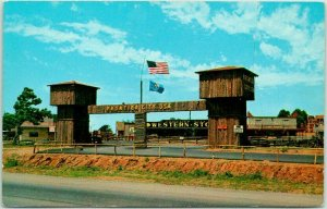 Oklahoma City ROUTE 66 Roadside Postcard FRONTIER CITY, U.S.A. Entrance Gate