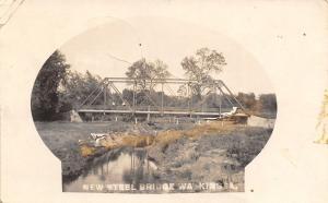 Watkins Iowa~New Steel Thru Truss Bridge~Couple in Wagon~1914 Real Photo~RPPC
