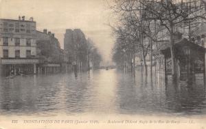 Paris France~Boulevard Diderot Angle de La Ru de Bercy~January Flood~1910 PC
