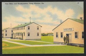 Post Office & Headquarters Camp Wheeler Wheeler Georgia Unused c1930s